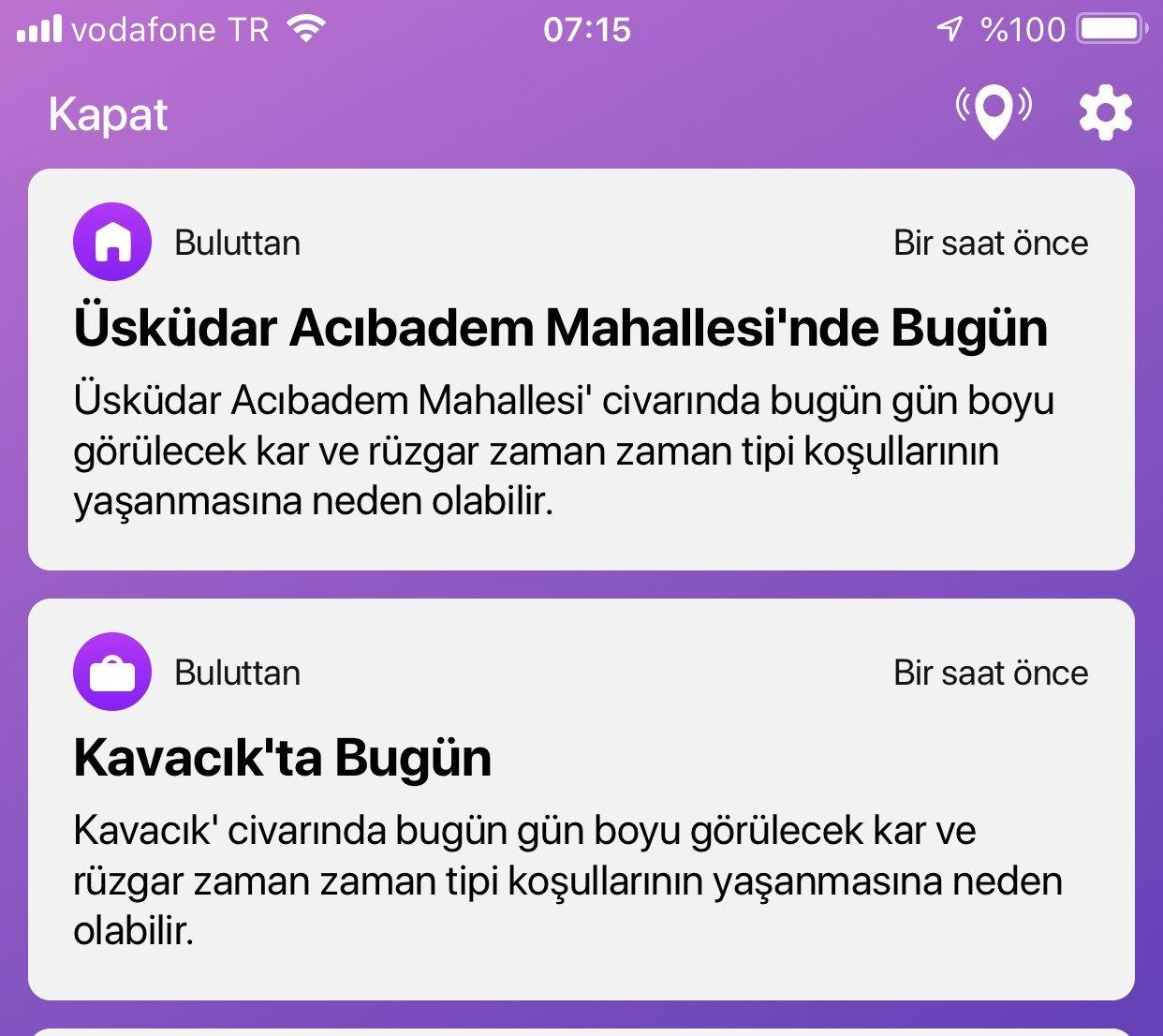 Buluttan Bildiriyor uygulamasından gelen İstanbul için hava durumu bildirimi bu şekildeydi. Şartlar Home Office için uygundu.